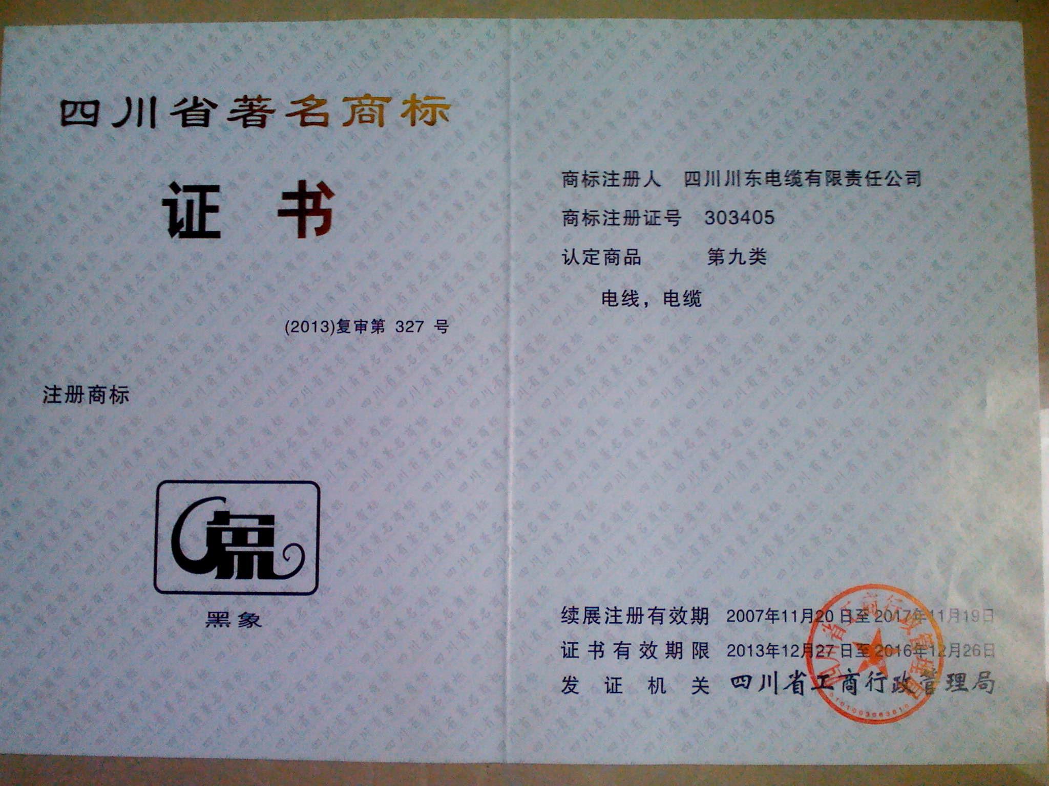2014 Sichuan famous trademark